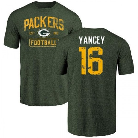 DeAngelo Yancey Green Bay Packers Men's Green Distressed Name & Number Tri-Blend T-Shirt