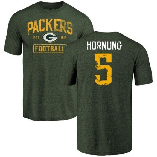 Paul Hornung Green Bay Packers Men's Green Distressed Name & Number Tri-Blend T-Shirt