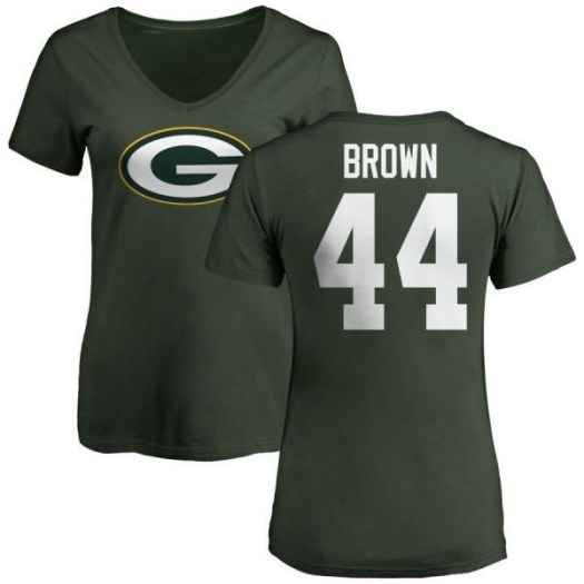 Donatello Brown Green Bay Packers Women's Green Pro Line Any Name & Number Logo Slim Fit T-Shirt -
