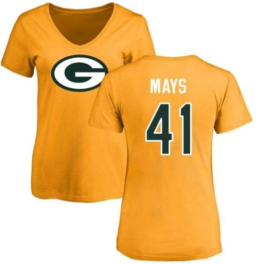 Devante Mays Green Bay Packers Women's Gold Pro Line Name & Number Logo Slim Fit T-Shirt -